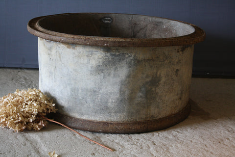 French Galvanized Planter with Iron Bands