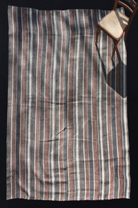 "Iranian Mazirdan with Brown and Blue Stripes (7' 4"" x 10' 6"")"