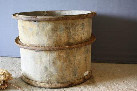 Tall French Galvanized Planter with 3 Iron Bands