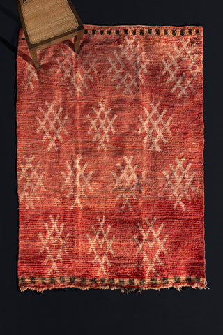 Naturally Dyed Red Round Chichaoua Medium Size Pile Carpet