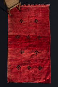 Naturally Dyed Medium Size Red Chichaoua Carpet with Checkered Diamond Pattern