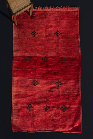 Naturally Dyed Medium Size Red Chicchana Carpet with Checkered Diamond Pattern