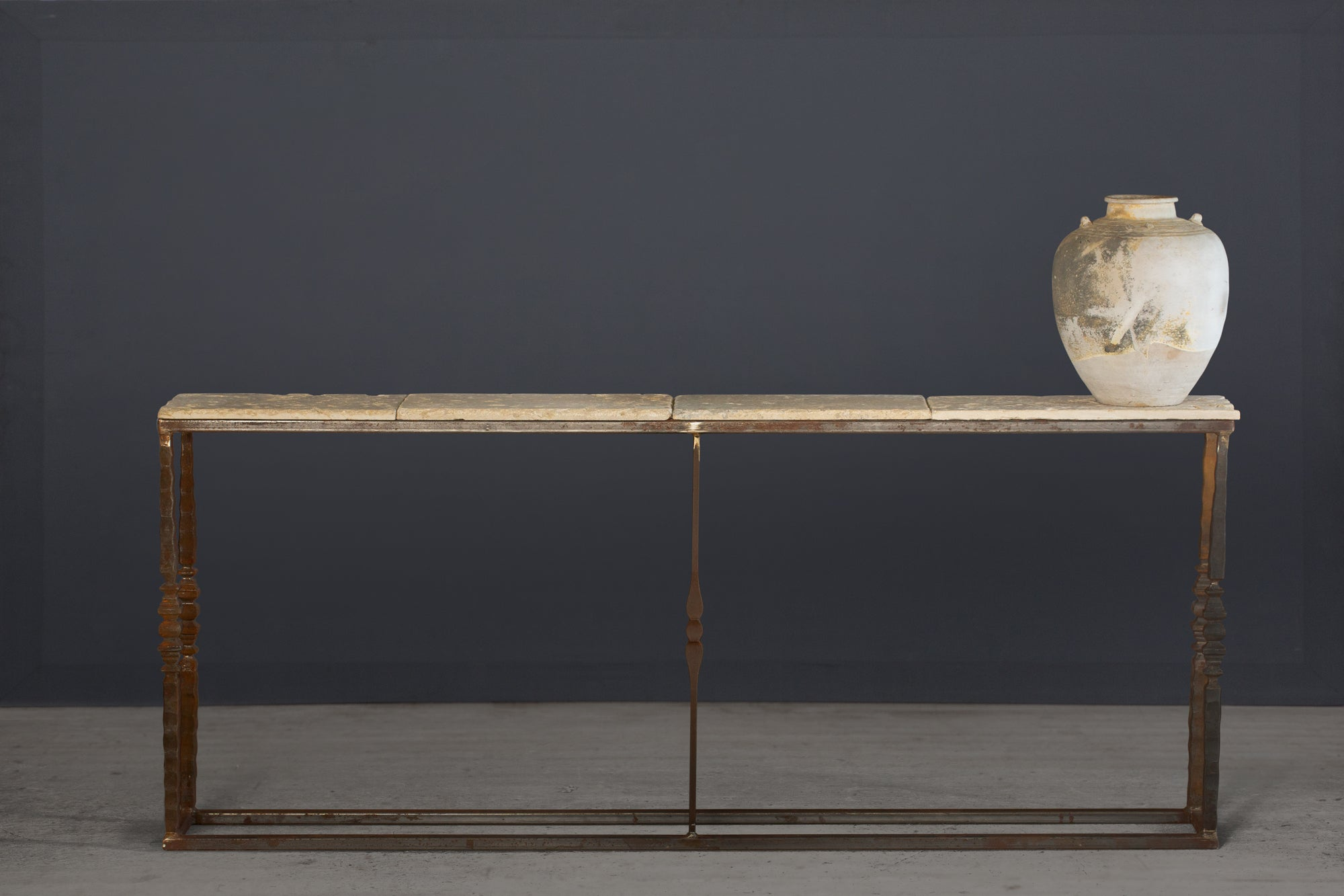 Bespoke Skinny Iron Base Console Table with a French Marble Top