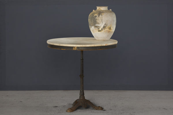 Early 20th Century French Bistro Table with White Marble Top