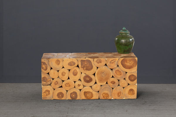 Natural Teak Branch Cube Pedestal