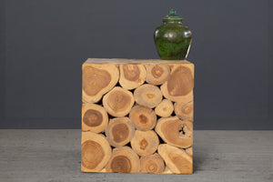 Natural Teak Branch Cube Table