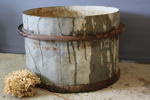 Tall French Iron Banded Galvanized Pot