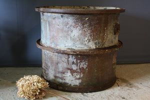 Tall French Galvanized Pot with 3 Iron Bands