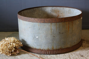 Shallow French Galvanized Pot with Iron Bands