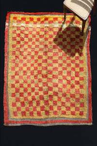 Bordered Red And Yellow Check Konya With A White Band (5' 1'' x 6' 2'')