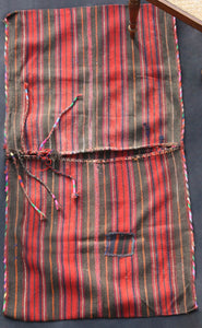 Saddle Bag With Brown, Red And Thin Blue Stripes And Rainbow Piping