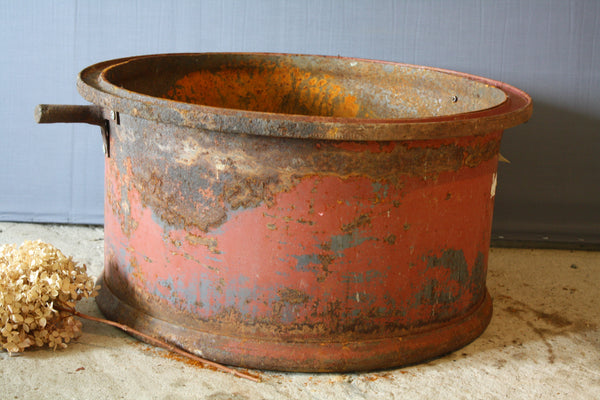 Red Painted French Iron Planter With Handles