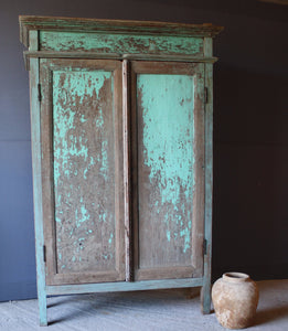 Small Blue 19th Century Dutch Colonial Cabinet From Java