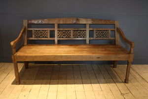 Tall Deep Seated Ribbon Work Dutch Colonial Teak Bench
