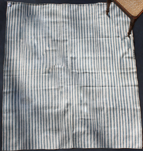 Indigo And White Striped Iranian Cotton And Hemp Carpet