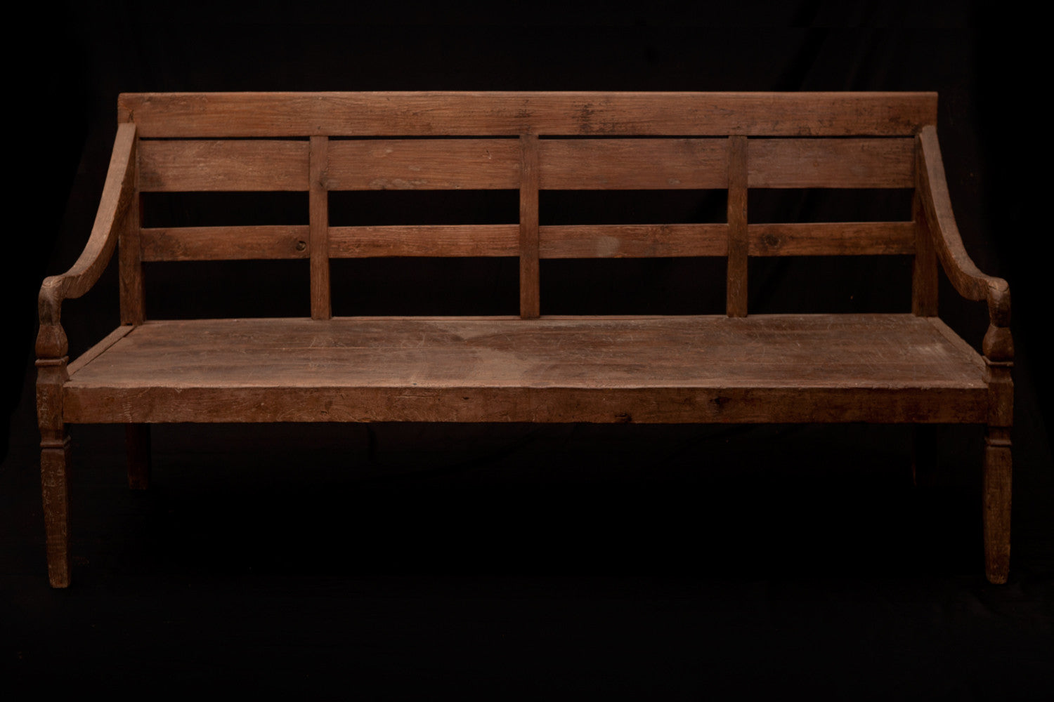 Simple Slat Back Dutch Colonial Teak Bench