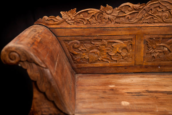 Carved Teak Sofa from Sumatra
