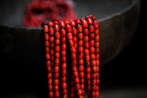 Red Bead Necklaces from Borneo