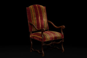 Pair of French Walnut Louis XIV Style Arm Chairs in Old Stripe Velvet