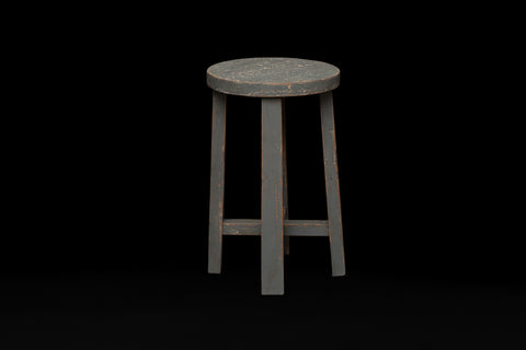 Short Round Topped Teak Stool