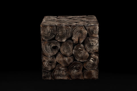Ebonized Teak Cube Made From Slices