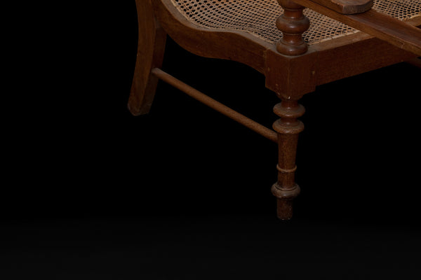 19th Cent. Teak and Rattan English Colonial Lounge Chair