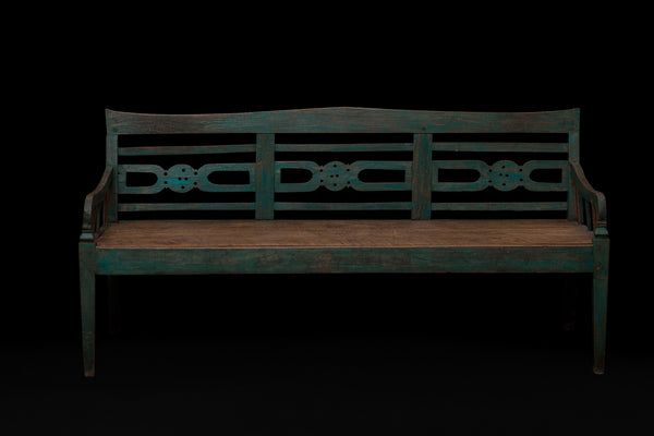 Dutch Colonial Teak Bench with an Old Blue Painted Finish