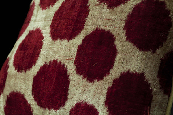 Uzbec Silk Velvet Ikat Pillow