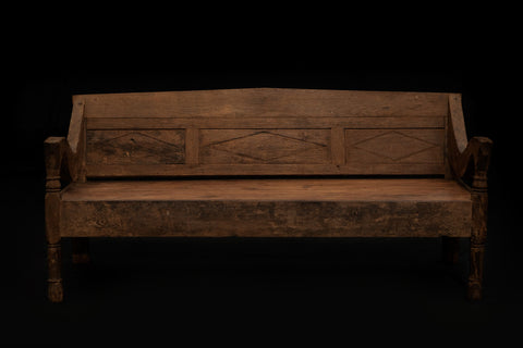 Diamond Panel Back Colonial Bench from Sumatra