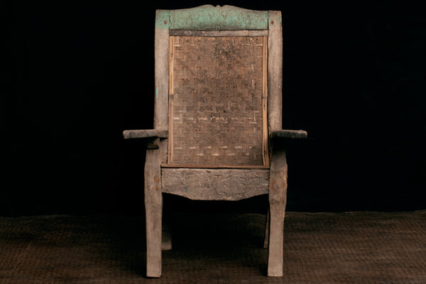 Teak Colonial Arm Chair with Woven Bamboo Back from Sumatra
