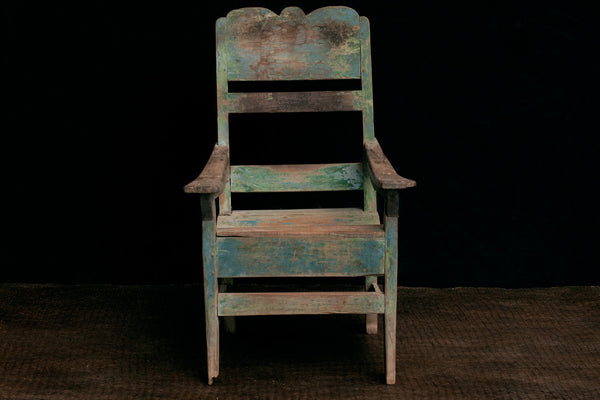 Dutch Colonial Teak Relax Chair with Traces of Old Blue Paint from Java