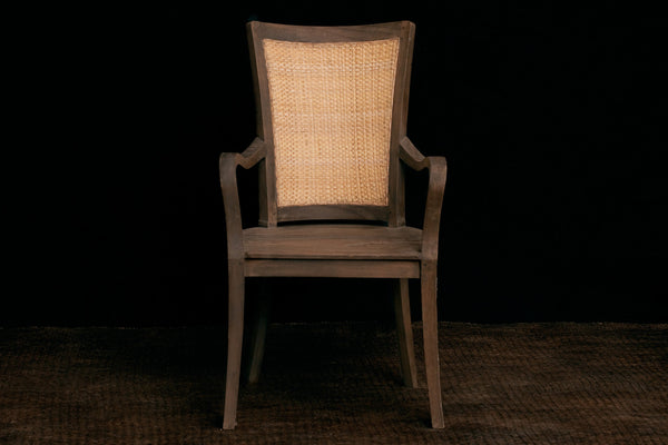 Teak & Rattan Arm Chair