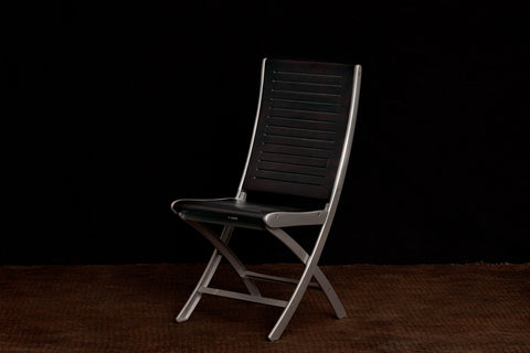 Teak & Powder Cast Aluminum Folding Side Chairs