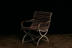 French Iron & Teak Garden Chair