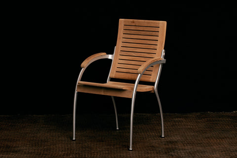 Teak & Powder Cast Aluminum Arm Chairs