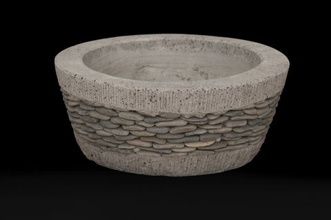 Large Shallow Riverstone Pot