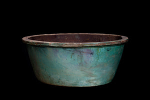 Large 19th Century Green Glaze Wash Basin from Borneo
