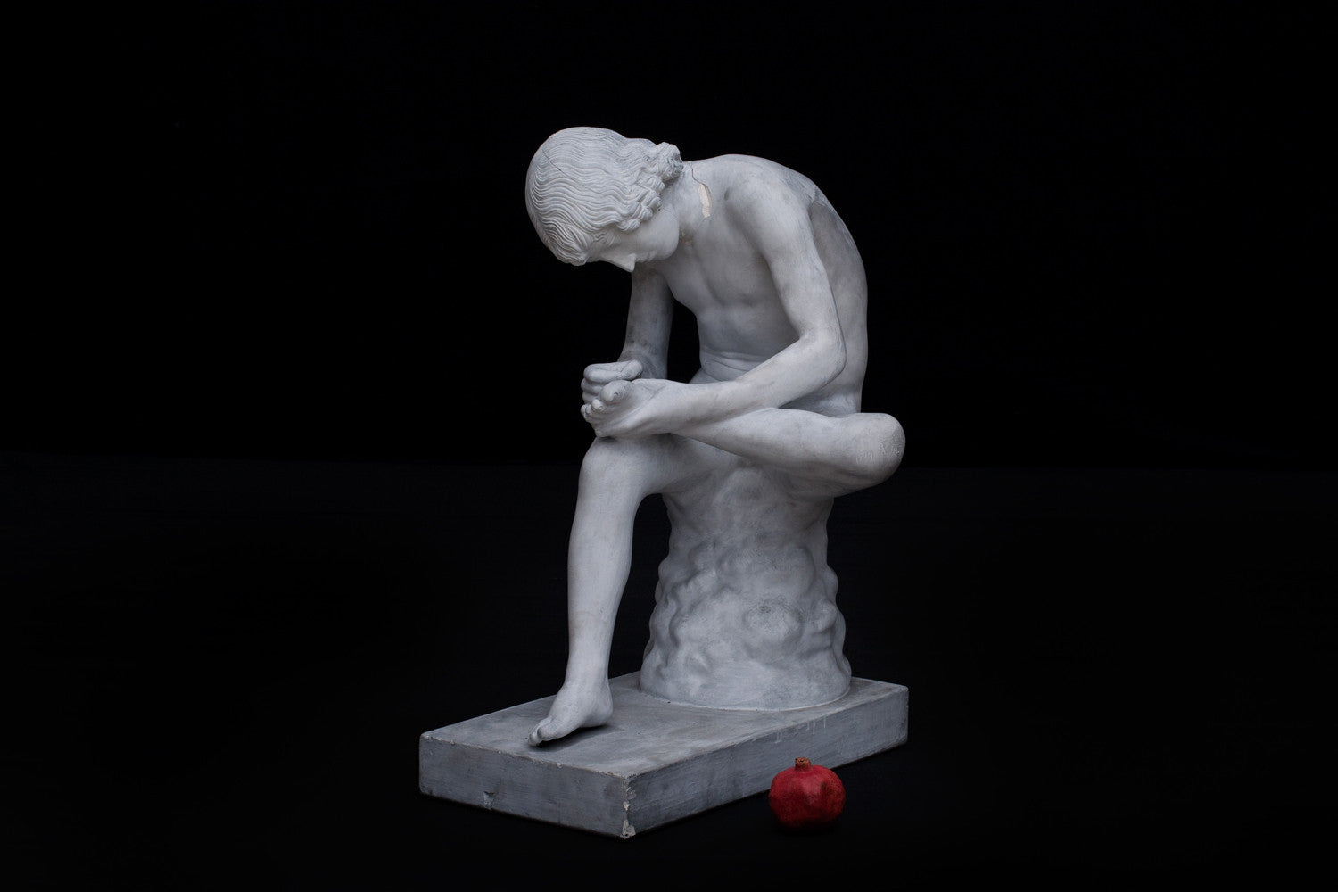 19th Century Plaster Figure of Seated Boy