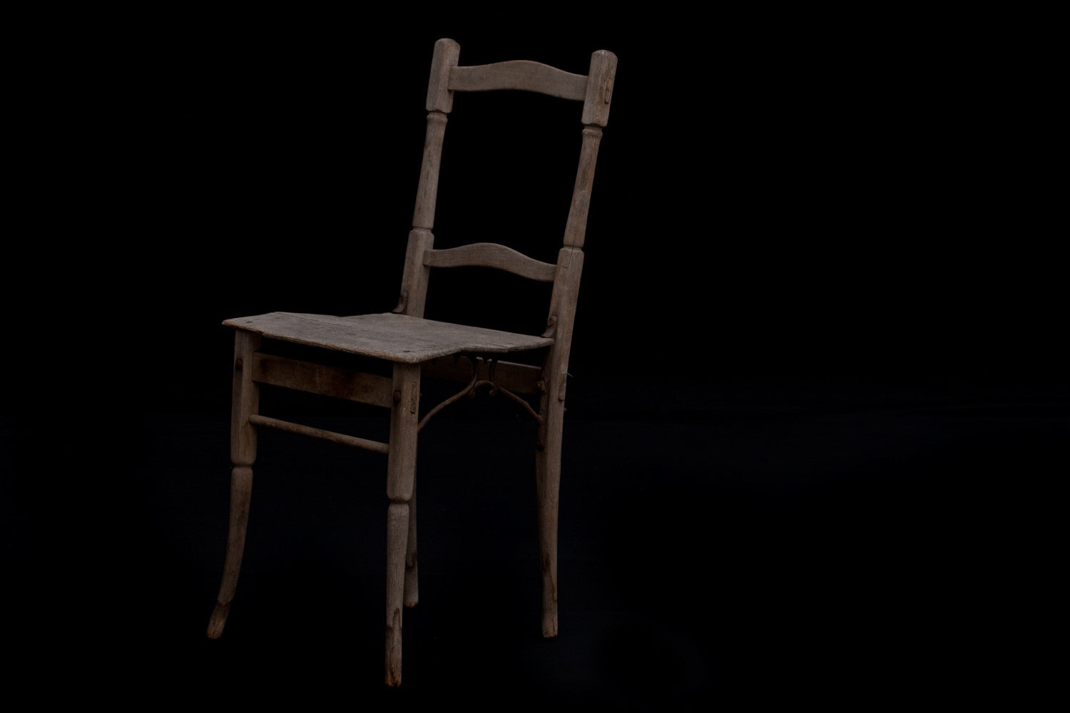 Set of 4 19th Century French Oak Garden Chairs