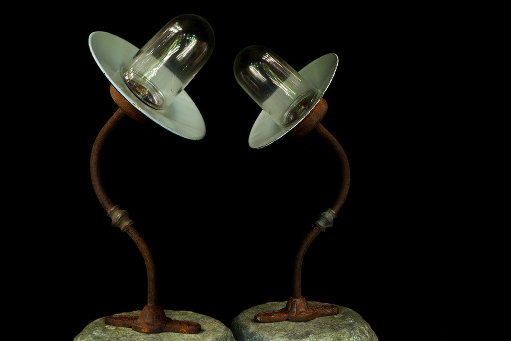 Pair of French Barn Lights ca 1920