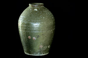 Large 19th Century Green Glaze Vietnamese Storage Jar