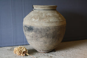 Large White Washed Terra Cotta Oil Jar