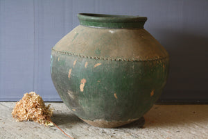 Large Terra Cotta Oil Jar with Old Green Paint