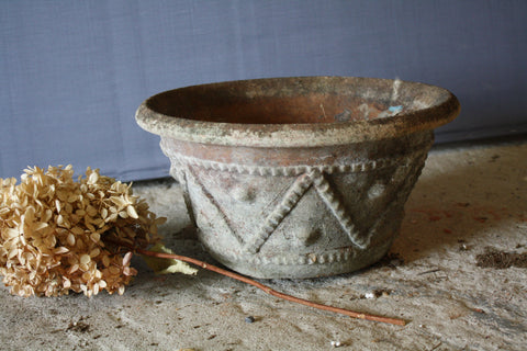 Small Mossy Terra Cotta Pot with Decoration