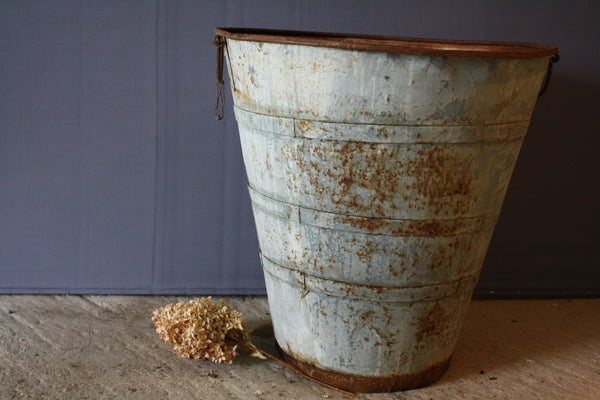 Tall Tin and Iron Greek Grape Harvesting Container