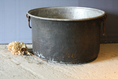 Large Greek Copper Pot with Iron Handles