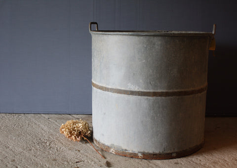 "Tall ""Tree Sized"" Zinc Pot with Iron Band"