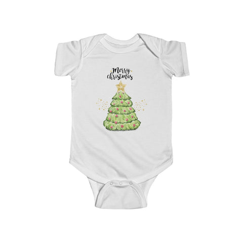 Merry Christmas Tree XMAS Infant Fine Jersey Bodysuit