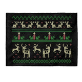 Christmas Ugly Sweater Reindeer Candle Xmas Black Velveteen Plush Blanket