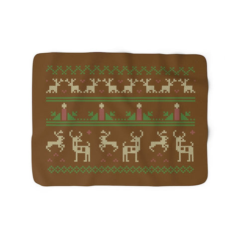 Christmas Ugly Sweater Reindeer Candle Xmas Brown Sherpa Fleece Blanket